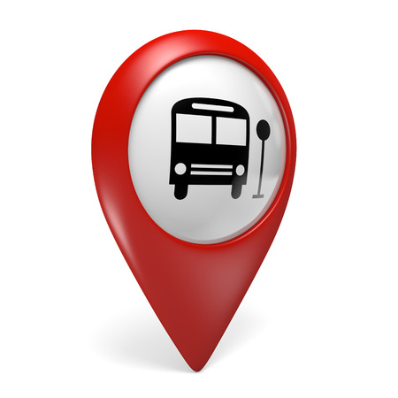 internet terminals: 3D red map pointer icon with a bus symbol for public transportation