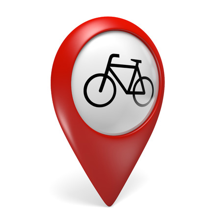 rentals: 3D red map pointer icon with a bicycle symbol for bike rentals and cycling