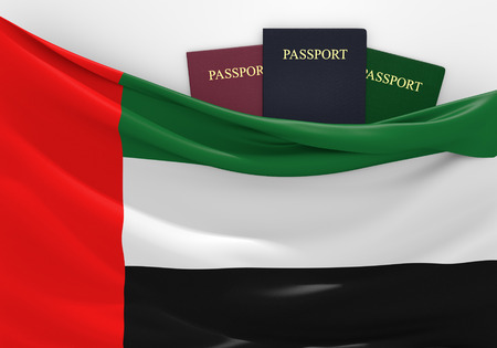 pasaporte: Viajes y turismo en Emiratos Árabes Unidos con pasaportes surtidos