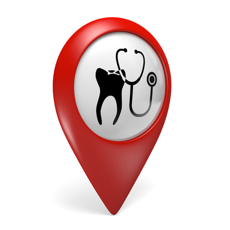 stomatologist: 3D red map pointer icon with a tooth symbol for dentist clinics
