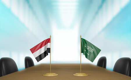 conversaciones: Yemen y Arabia Saudita conversaciones acuerdo comercial econ�mica Foto de archivo