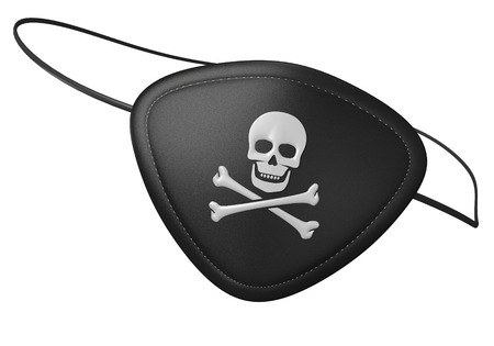skull and bones: Black leather pirate eyepatch with a scary skull and crossbones