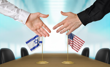 agreeing: Israel and United States diplomats agreeing on a deal Stock Photo