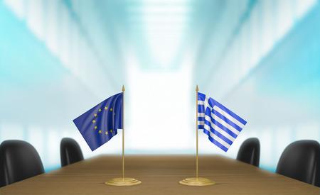 conversaciones: Uni�n Europea y Grecia conversaciones acuerdo comercial econ�mica Foto de archivo