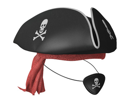 Black leather pirate hat and eyepatch with skulls and a red bandana