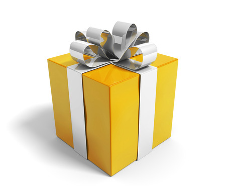 wrappings: Beautiful gold gift box reward with a shiny silver ribbon