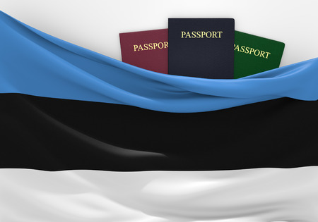 foreign national: Travel and tourism in Estonia with assorted passports Stock Photo