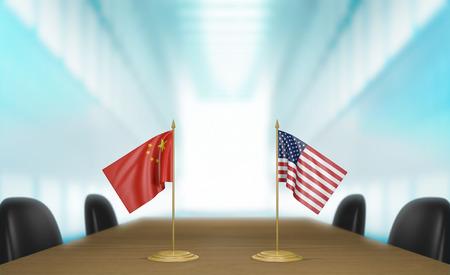 conversaciones: China y los Estados Unidos las relaciones y conversaciones acuerdo comercial Foto de archivo