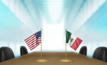 conversaciones: Estados Unidos y M�xico las relaciones y conversaciones acuerdo comercial Foto de archivo