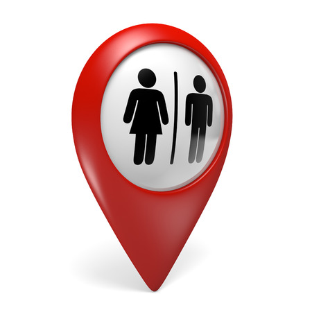 3D red map pointer icon with male and female gender symbols for restrooms
