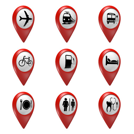 3d pointer: 3D red map pointer icons set for transport hotels food and services