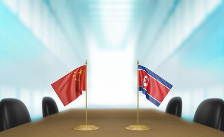 conversaciones: China y Corea del Norte relaciones y conversaciones acuerdo comercial Foto de archivo