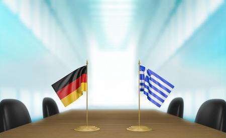 conversaciones: Alemania y Grecia relaciones y conversaciones acuerdo comercial Foto de archivo