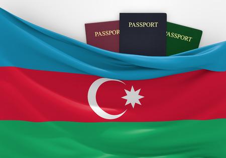 azerbaijani: Travel and tourism in Azerbaijan with assorted passports Stock Photo