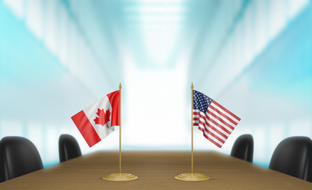 canada flag: Canada and United States relations and trade deal talks Stock Photo