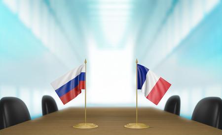 conversaciones: Rusia y Francia y las relaciones acuerdo comercial habla representaci�n 3D