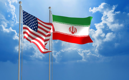 trades: American and Iranian flags flying together for diplomatic talks
