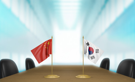korea flag: China and South Korea relations and trade deal talks 3D rendering Stock Photo