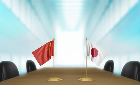 conversaciones: China y Japón relaciones y acuerdo comercial habla representación 3D Foto de archivo