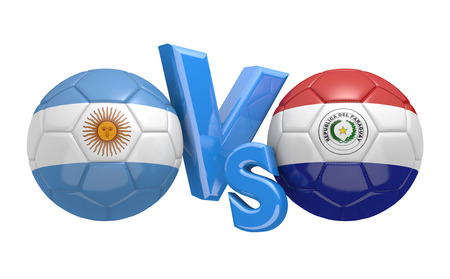 football teams: Copa America football competition national teams Argentina vs Paraguay Stock Photo