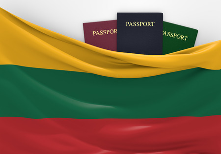 lithuanian: Travel and tourism in Lithuania with assorted passports