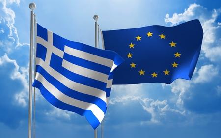 conversa: Grecia y la Uni�n Europea banderas ondeando juntas para mantener conversaciones diplom�ticas