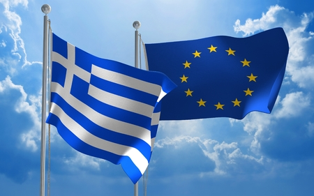 foreign policy: Greece and European Union flags flying together for diplomatic talks