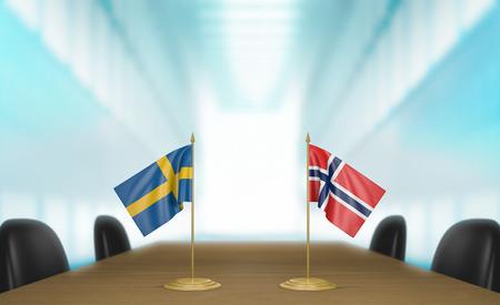 conversaciones: Suecia y Noruega relaciones y acuerdo comercial habla representación 3D