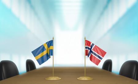talks: Sweden and Norway relations and trade deal talks 3D rendering Stock Photo