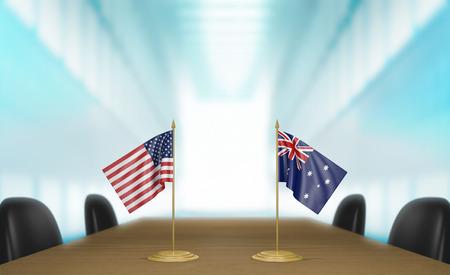 conversaciones: Estados Unidos y Australia y las relaciones acuerdo comercial habla representaci�n 3D