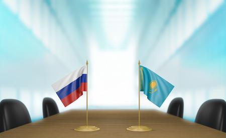 conversaciones: Rusia y Kazajst�n relaciones y acuerdo comercial habla representaci�n 3D Foto de archivo