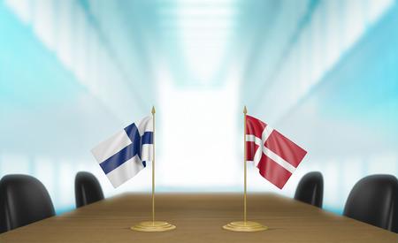 conversaciones: Finlandia y Dinamarca relaciones y acuerdo comercial habla representaci�n 3D