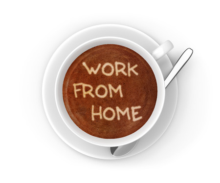 work from home: Small business work from home message in a coffee cup Stock Photo
