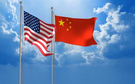conversaciones: Estados Unidos y China banderas ondeando juntas para mantener conversaciones diplom�ticas