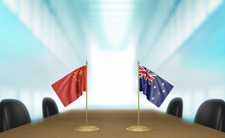 conversaciones: China y Australia relaciones y acuerdo comercial habla representación 3D Foto de archivo