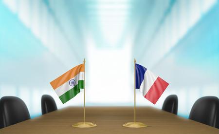 conversaciones: India y Francia y las relaciones acuerdo comercial habla representación 3D