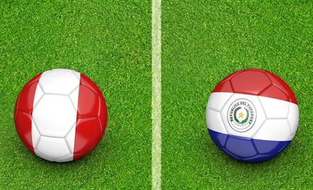 paraguay: 2015 soccer tournament, teams Peru vs Paraguay Stock Photo