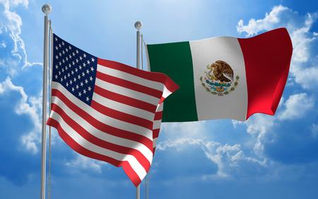 conversaciones: Estados Unidos y M�xico banderas ondeando juntas para mantener conversaciones diplom�ticas Foto de archivo