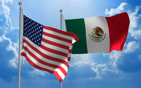 united states: United States and Mexico flags flying together for diplomatic talks