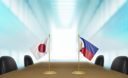 conversaciones: las relaciones entre Japón y Filipinas y charlas acuerdo comercial de renderizado 3D Foto de archivo