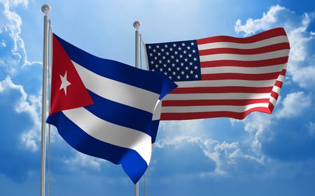 usa flags: Cuba and United States flags flying together for diplomatic talks