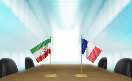 Iran and France relations and nuclear deal talks 3D rendering