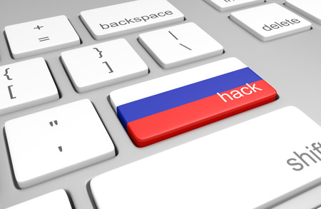 Russia hacking concept of a computer keyboard and a key painted with the Russian flag Standard-Bild