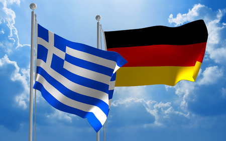 greece: Greece and Germany flags flying together for diplomatic talks Stock Photo