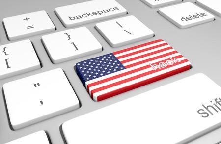 teclado de computadora: Estados Unidos piratería concepto de un teclado de computadora y una clave pintada con la bandera de Estados Unidos Foto de archivo