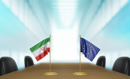 union flag: Iran and European Union relations and trade deal talks 3D rendering
