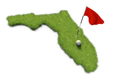putting: Golf ball and flag pole on course putting green shaped like the state of Florida
