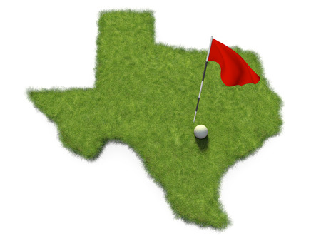 Golf ball and flag pole on course putting green shaped like the state of Texas