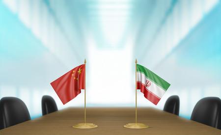 conversaciones: China e Irán relaciones y acuerdo comercial habla representación 3D Foto de archivo