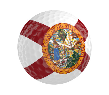 3d ball: Golf ball 3D render with flag of Florida, isolated on white Stock Photo